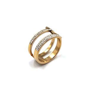Δαχτυλίδι ατσάλι σε ροζ χρυσό με δύο παράλληλες σειρές από λευκές πέτρες ζιργκόν