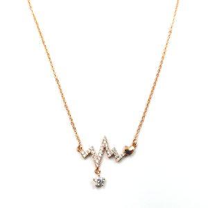 Κολιέ ατσάλι σε ροζ χρυσό με σχήμα καρδιογράφημα κοσμημένο με λευκές πέτρες ζιργκόν