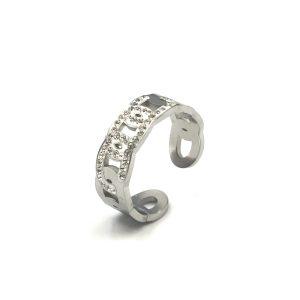 Δαχτυλίδι ατσάλι σε ασημί με άνοιγμα κοσμημένο με λευκές πέτρες Swarovski