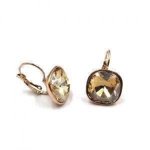 Σκουλαρίκια ατσάλι σε χρυσό με λευκούς κρυστάλλους
