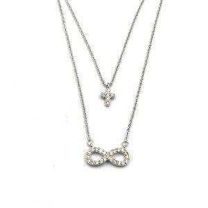 Κολιέ διπλό ατσάλι ασημί με σταυρό και σχήμα το άπειρο με λευκές πέτρες ζιργκόν