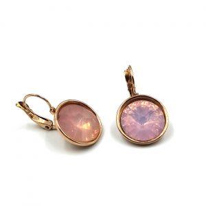 Σκουλαρίκια ατσάλι σε ροζ χρυσό με κρυστάλλους σε παλ απόχρωση
