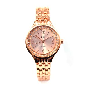 Ρολόι ατσάλι σε ροζ χρυσό με λευκές ζιργκόν πέτρες περιμετρικά